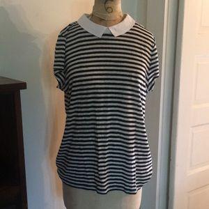Ann Taylor Sailor Stripe Linen Collared Tee XL
